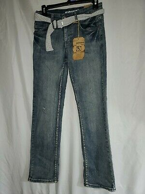 New Flypaper boys jeans distressed size 14 straight stretch with belt (25)