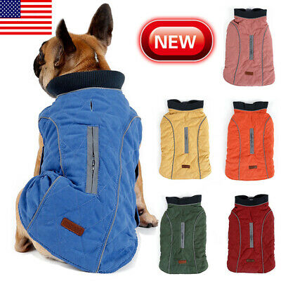 US Waterproof Pet Dog Outfit Clothes Harness Winter Warm Padded Coat Vest Jacket