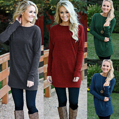 Womens Long Sleeve Sweater Top Ladies Knitted Mini Jumpers Tunic Dress Size 8-20