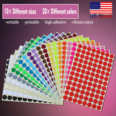 ANY SIZE Coloured Dot Stickers Round Spot Circles Dots Paper Labels *20  COLOURS
