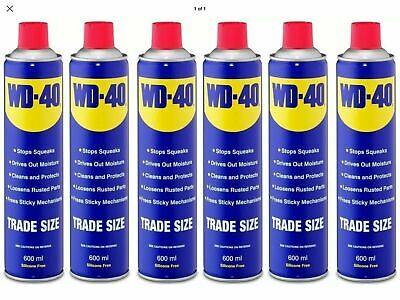 WD40 Trade Size Multi Use Aerosol Spray Stops Squeaks Protects Cleans 600ml X6