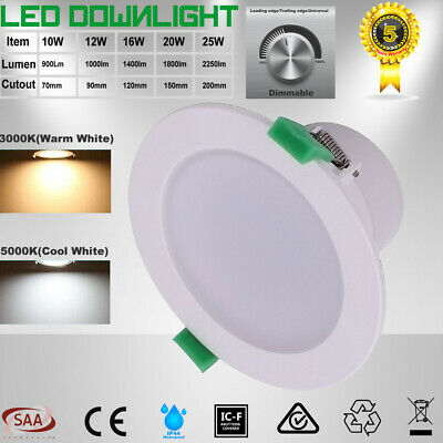 10W 12W 16W 20W 25W Recessed LED Downlight Kit Dimmable Warm/Daylight/Cool White