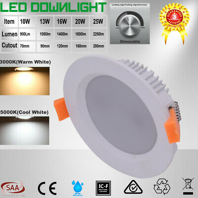 Recessed Dimmable 10W 13W 16W 20W 25W LED Downlight Kit Warm/Cool White Light