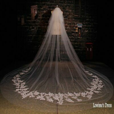 2T Cathedral Veil Venice Lace Wedding Veils white/ivory bridal Veil vail &comb