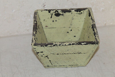 Antique Style Wooden Rice Measure Box Bucket Painted Farmhouse Decor Green