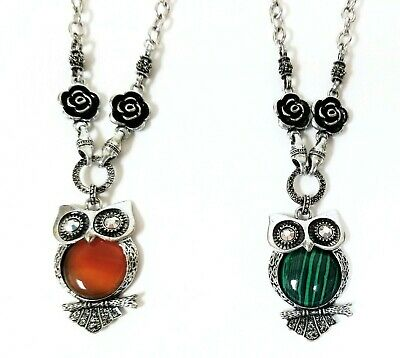 New Antique Silver Tone Large Owl Shaped Natural Stone,Rhinestone Charm Necklace