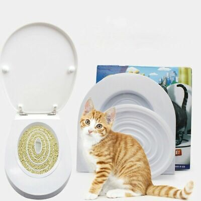 Cat & Kitten Toilet Training Seat Disappearing Litter Tray Box Trainer Hygienic