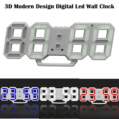 12/24H Digita LED Digit Large 3D Table Wall Clock Dimmer Alarm Snooze Home Decor