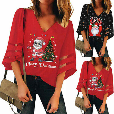Women's V-Neck Mesh Top Trumpet Sleeves Shirt Loose Christmas Top Blouse AU