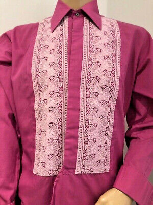 """Striking Pink Embroidered Evening Shirt Tuxedo Dinner Xmas Party 44 X 16"""" Large"""