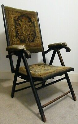 A Rare Antique Folding Reclining Ebonized Country House Campaign Chair