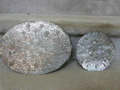 2 OUTSTANDING Set of VINTAGE ANTIQUE Silver over Copper Hot Pad GRAPE & LEAF