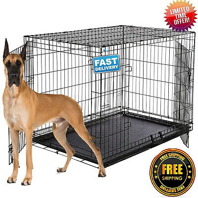 "Dog Crate LARGE Kennel 42"" Folding Pet Cage Metal XL 2 Door Tray Pan"