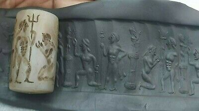 Ancient Large Agate Cylinder Nude Warriors Worship Statue Intaglio Seal Bead