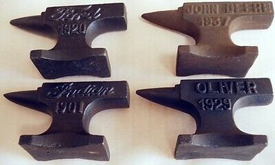 Indian, Ford, Oliver, John Deere Cast Iron Anvil Paperweight Salesman Jewelry