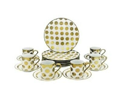 18 Pc China Espresso & Cake Serving Set for 6 Demitasse Cups and Dessert Plates