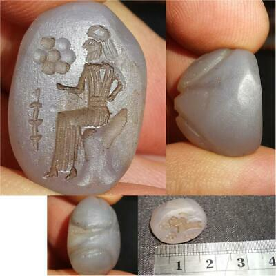 Sassanian Chalcedony Agate old stone seal intaglio Stamp  # 36