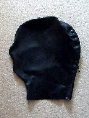 Latex Rubber Quality Fitted Hood 0.5mm BLK Rear zip - Nose ONLY S- XL Brand New