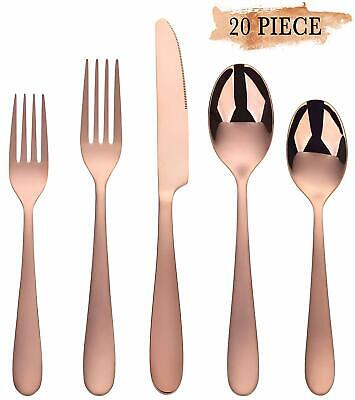 20 Pieces Service for 4 Kyraton Colorful Titianium Plated Stainless Steel Flatware Set 20 Pieces,Hammer Design Rainbow Color Silverware Set Shiny Rainbow