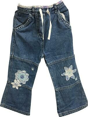 Girls George Blue Flower Trousers Jeans Age 2-3 Years PJ302