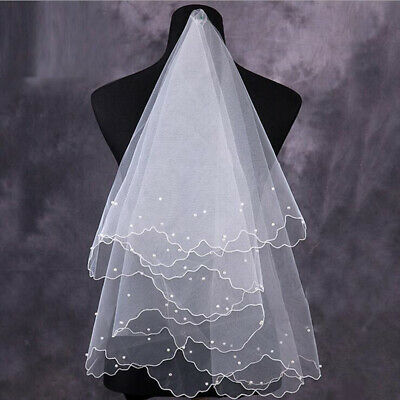 White 2T Wedding Bridal Veil with Comb Handmade DIY Fabric beaded Beads Pearl