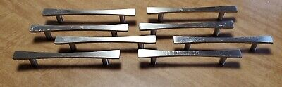 Set Of 8 Modern Chrome Drawer Pulls / Cabinet Handles-  4 Inch