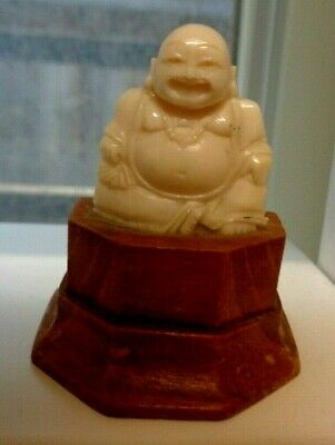 1920s Handcrafted Quality Carved Bovine Bone Buddha on Wood Base