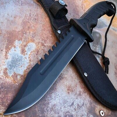 "12"" Military TACTICAL SURVIVAL Rambo Hunting FIXED BLADE KNIFE Army Bowie BLACK"