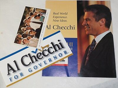 AL CHECCHI FOR GOVERNOR CALIFORNIA 1998 BROCHURE BUMPER STICKER & Post Card