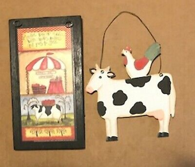 Market Day cow apple chicken rooster country farmhouse kitchen decor wall sign