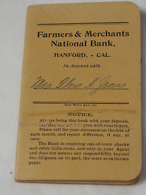 1914 Agricultores y Merchants Nacional Banco Cartilla Hanford Calif. Flora Jones