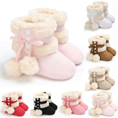 Toddler Kids Baby Girl Snow Boots First Walk Winter Bow Knot Sweet Heart Shoes U