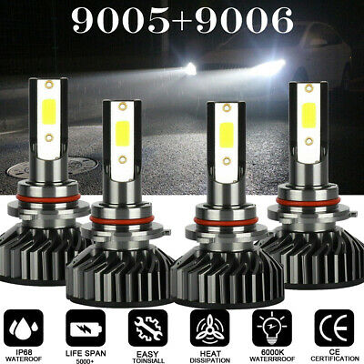 For 1997-2005 Buick Century Led Headlight Lamp Bulbs F2 White Cob 6500K 4Pcs