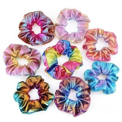 2/4/8x Shiny Metallic Hair Scrunchies Ponytail Holder Elastic Ties Band Girls Sy