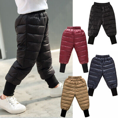 Kids Baby Girl Boy Winter Clothes Padded Down Pants Trousers Outfits Snowsuit