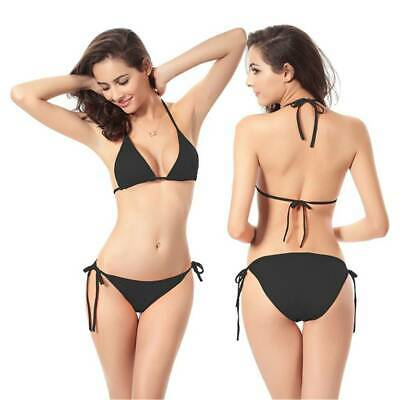 Women Bikini Sets girls Brazilian Triangle Bra Side Tie Thong Swimsuit Beachwear