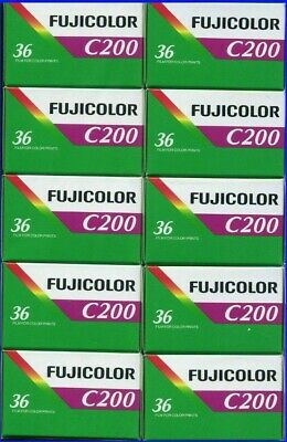10 Rolls Fujifilm Fujicolor C200 200 ISO 36 exp 35mm Color Negative Film