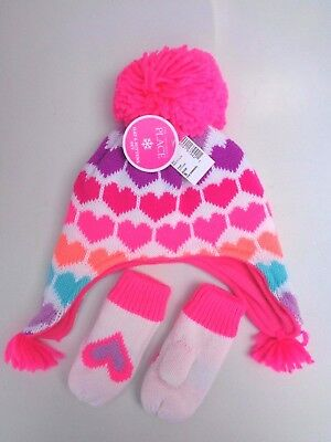 NWT The Children/'s Place Pom Pom Hat /& Mittens Set MSRP $18.95 S 12-24 M