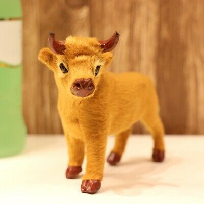 Plush Cattle Miniature Figurines Simulation Cattle Statues Desktop Ornament AU