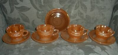 Vintage Set of 4 Demitasse Cups & Saucers in Peach Lustre-Ware/U.S.A./c.1965