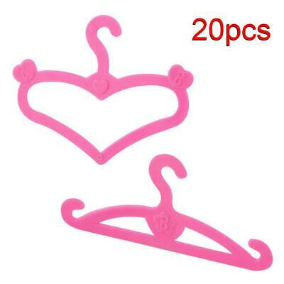 20PCS Pink Doll Clothes Hanger Holder for 11.5'' Barbie Doll Dress Accessories