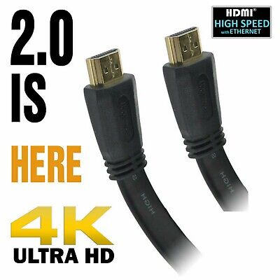 UltraHD 4K High Speed Flat HDMI Cable 3D 2160p Lead 1m/2m/3m/5m/7.5m/10m/15m/20m