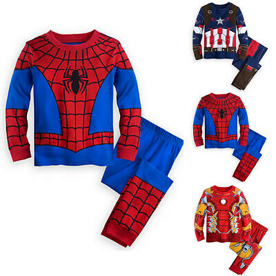 Kids Children Boys Super Hero Tops Pants Pyjamas Nightwear Sets Outfit Clothes