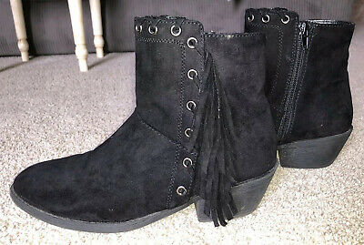 Justice Black Boots With Fringe Size 7 Women's