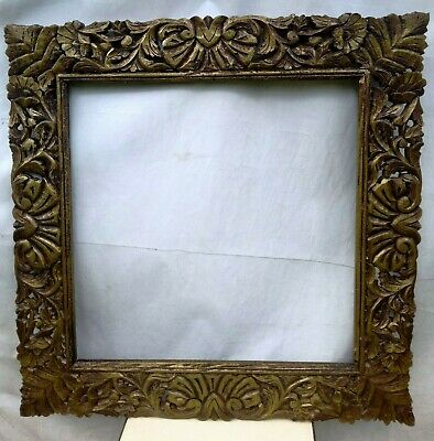 Wooden Mirror Frame Picture Photo Frame Old Handmade Carved Home Decor Wall Art