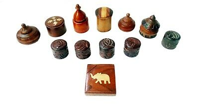 Wooden Box Hand Made Carved Vintage Design Trinket Jewelry Lot of 12 Home Art