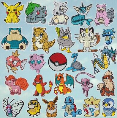 Pokemon Iron/Sew On Patch Pikachu + Cartoon Characters Embroidered Applique