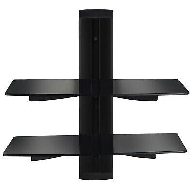 Vemount Floating Shelves DVD Wall Mount Bracket 2 Tier Black Stand with Stren...