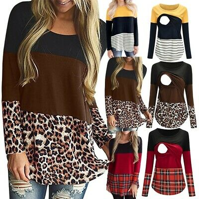 Women Maternity Long Sleeve Leopard Print Nursing Tops T-shirt For Breastfeeding