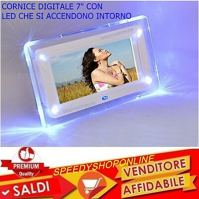 Cornice Digitale 7''  Usb Foto Video Mp3 Jpg Sd Card Con Telecomando E Led Blu